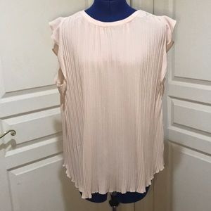 Halogen Cream Mini Pleat Blouse Size Large EUC